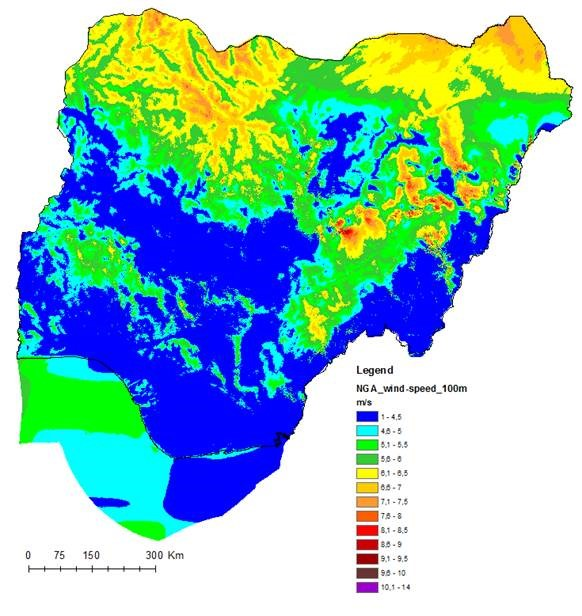 Nigeria conditioning map Nigeria Wind Atlas (Source: Global Wind Atlas)